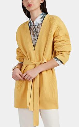 Altuzarra Women's Jareth Embroidered Wool-Cashmere Belted Cardigan - Yellow