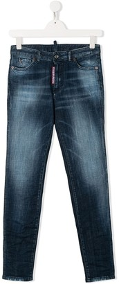 DSQUARED2 TEEN logo tag stonewashed jeans