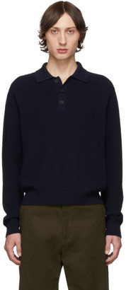 Studio Nicholson Navy Double Faced Wool Polo