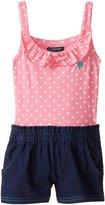 U.S. Polo Assn. Little Girls' Polka Dot Print Jersey Top and Denim Short Romper