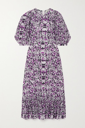 Sea Borealis Ruffled Printed Cotton And Silk-blend Midi Dress - Purple
