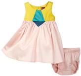 Tea Collection Aurora Colorblock Dress & Bloomer Set (Baby Girls)