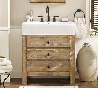 Pottery Barn Mason Reclaimed Wood Single Sink Vanity - Wax Pine Finish
