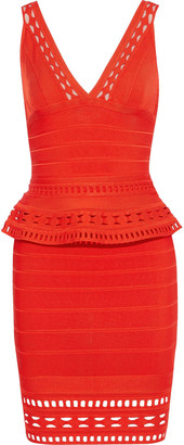 Herve Leger Rebeca Laser-cut Bandage Peplum Mini Dress