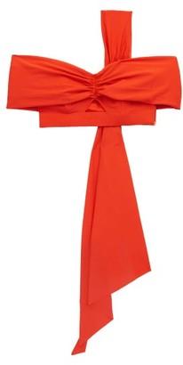 Self-Portrait Draped-panel One-shoulder Bikini Top - Orange