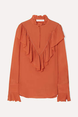 See by Chloe Ruffled Chiffon Blouse - Orange