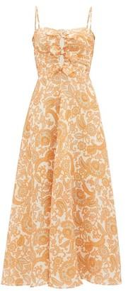 Zimmermann Peggy Paisley-print Tie-front Linen Dress - Orange Print