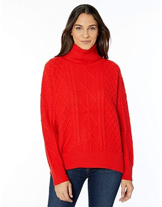 Show Me Your Mumu Farren Turtleneck Sweater (Red Holly Cable Knit) Women's Clothing