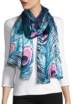 Collection 18 Peacock Feather Silk Scarf