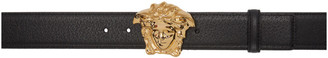Versace Black and Gold Medusa Belt