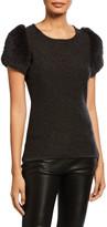 Neiman Marcus Metallic Cashmere Crewneck Fur Short-Sleeve Sweater