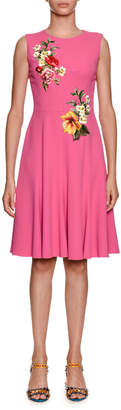 Dolce & Gabbana Sleeveless Stretch-Cady Dress w/ Floral Applique
