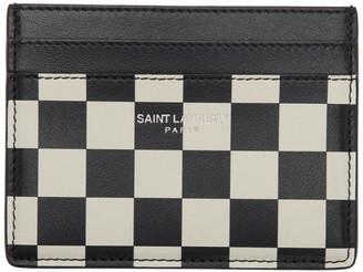 Saint Laurent Black and White Checkered Card Holder