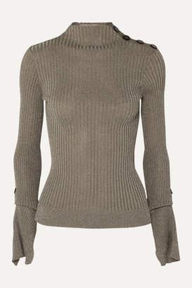 Roland Mouret Kiruna Metallic Ribbed-knit Sweater - Silver