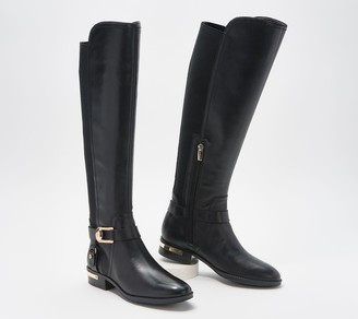 Vince Camuto Leather Wide Calf Tall Shaft Boots - Pearly