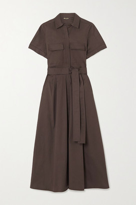 Loro Piana Belted Stretch-cotton Poplin Midi Shirt Dress - Brown