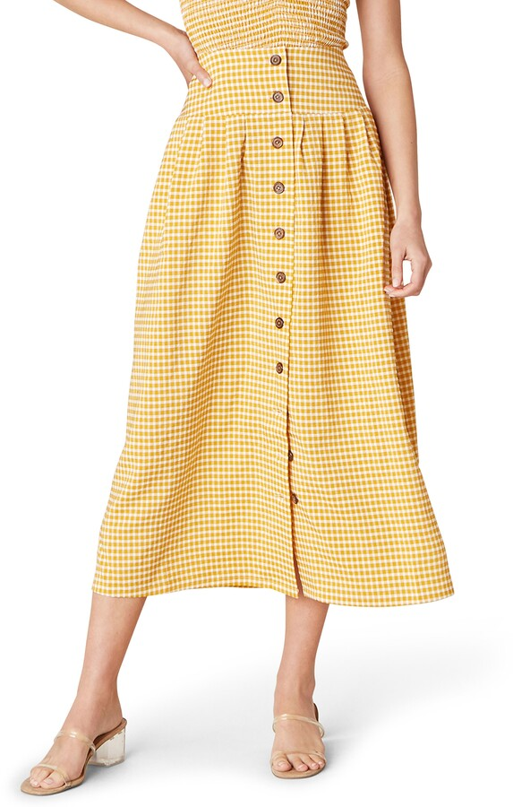 BB Dakota Sunshower Gingham Seersucker Midi Skirt