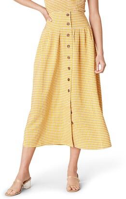 BB Dakota Sunshower Gingham Seersucker Midi Skirt
