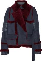 Sacai Paneled Shearling Jacket - Navy