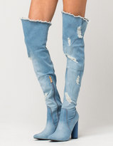 CAPE ROBBIN Denim Over The Knee Womens Boots
