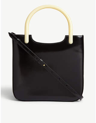 BY FAR Eric semi-patent leather tote