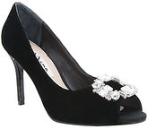 Nina Reign Velvet Peep Toe Ornament Embellished Pumps