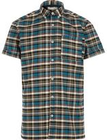 River Island MensBlue check short sleeve flannel shirt