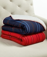 Martha Stewart Collection CLOSEOUT! Martha Stewart Collection Reversible Jersey Knit Faux Sherpa Throw