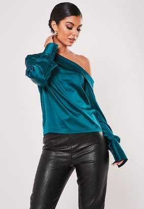 Missguided Teal Satin Deep Cuff One Shoulder Blouse