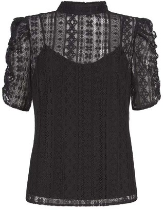 Mint Velvet Black Lace Puff Sleeve Top