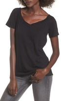 Socialite Women's Double V-Neck Pocket Tee
