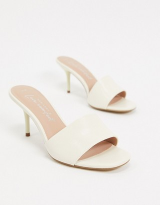 New Look leather look stiletto mules in off white