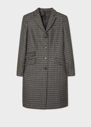 Women's Grey Houndstooth Check Wool Epsom Coat