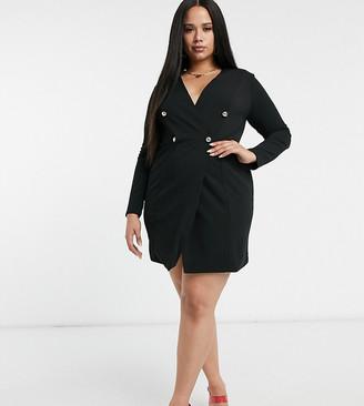 Club L London Plus double breasted blazer dress in black