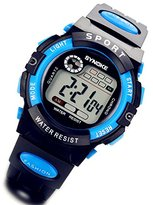 Lancardo Blue Black Child Kids Boy Girl Student Digital Sports Christmas Wrist Watches with Gift Bag
