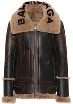 Balenciaga Shearling-lined leather jacket
