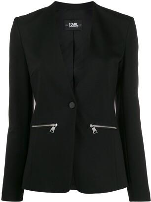 Karl Lagerfeld Paris logo tape Punto blazer