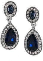 Carolee Blue Crystal Double-Drop Earrings