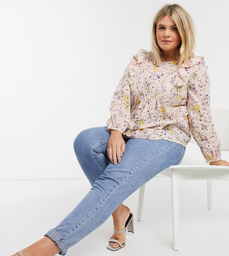 Vero Moda Curve blouse with broderie frill detail in pink floral