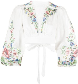 Zimmermann Floral Embroidered Cropped Top