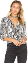 Equipment Slim Signature Snake Print Button Up in Black & White