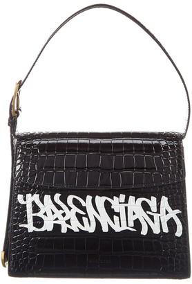 Balenciaga Ghost Medium Croc-Embossed Leather Shoulder Bag