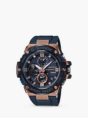 Casio GST-B100G-2AER Men's G-Shock G-Steel Chronograph Connected Resin Strap Watch, Navy