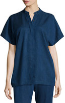 Zero Maria Cornejo Saban Short-Sleeve Band-Collar Top, Cobalt