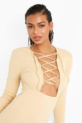 boohoo Premium Rib Lace Up Back Panelled Mini Dress