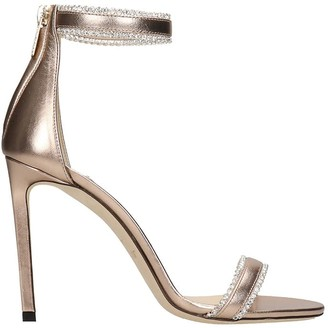 Jimmy Choo Dochas Sandals In Gold Leather