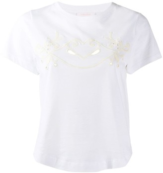 See by Chloe cropped embroidered T-shirt