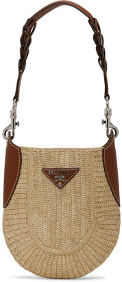 Prada Beige Raffia and Leather Shoulder Bag