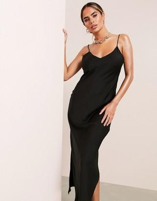 Asos Design ASOS LUXE satin cami maxi slip dress in black
