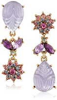 "Betsey Johnson Fall Follies"" Carved Stone and Flower Mismatch Drop Earrings"